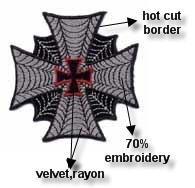Wholesales 95pcs/lot Popular Cross Series cobweb of embroidery biker patch N3019s