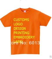 Blank orange cotton T-shirt 100% cotton customs logo printing label fashion tees women's shirt