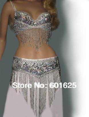 wholesale belly dance costume set (bra+belt) GOLD&SILVER COLORS #TF201,34D/DD,36D/DD,38/D/DD,40B/C/D,42D/DD(China (Mainland))