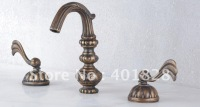 Two Handles Antique Brass Widespread Bathroom Sink Faucet - Wholesale -  Free Shipping (F-5002)