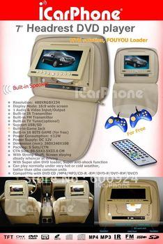 7 inch car Headrest DVD player Headrest Monitor car DVD player car mp3 player