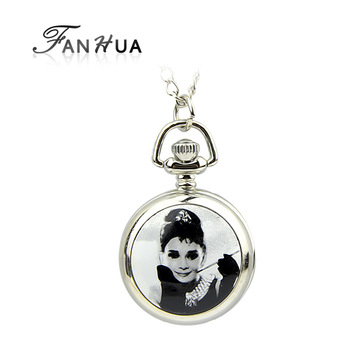 New style vintage jewelry new 2014 lovely fashion silver color alloy beautiful girl pattern pocket watch with chain