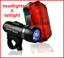 Hot Sale New Black 30pcs/lot Waterproof LED Bike Bicycle Head Light+ Rear Flashlight / Easy for travel