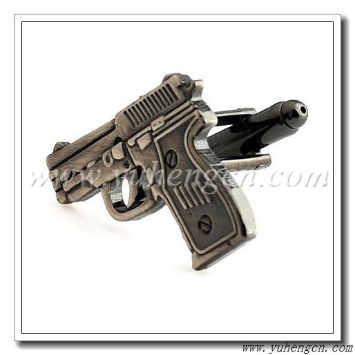 ... Hand Gun Cufflinks, Antique Nickel Finish - Factory Direct Wholesale