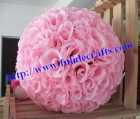 30cm pink plastic center artificial flowers ball-rose kissing ball wedding flower,party decorations,15pcs/lot,more color,more si