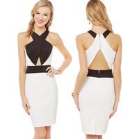 Black and white bow tie patchwork cross racerback invisible zipper pencil vestidos one-piece dress women dress casual dress