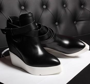 2015 Высокое качество женщины ботильоны из натуральной кожи сапоги мода обувь указывают ног клинья зима теплая пряжки высокий каблук осенние туфли на платформе