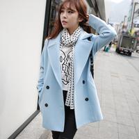 2014 star fashion slim double breasted medium-long woolen outerwear wool coat female newest design winter/autum fashion coat