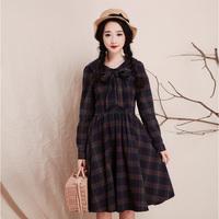 2014 women's  vintage preppy style plaid 100% cotton long-sleeve dress a-line