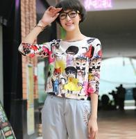 2014 women's cartoon print sweet preppy style loose long-sleeve chiffon shirt t-shirt top