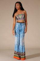 Womens New Blue Geometric Tribal Print Ethnic Wide Leg Bell Bottom Palazzo Pants