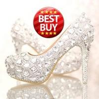 Women Pumps 2015 Diamond white wedding shoes high heels nightclub waterproof leather slipper shoes bridal shoes Free Shipping