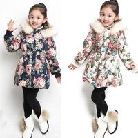 Children's winter clothing female child Outerwear & Coats 2014 winter Girls cotton-padded jacket Kids wadded Coat plus velvet