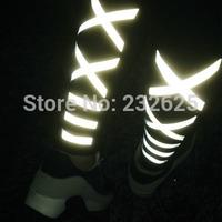 Free shipping women's new 3M X and stripe shape reflective light leggings, winter fleece lined reflecting lights pants, S/M/L
