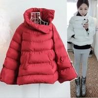 2014 winter women coat casacos femininos pullover cloak plus size jacket loose casual short design down cotton-padded outerwear