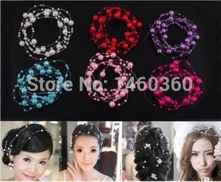 New Bride Hair Accessory Star Pearl Chain Bridal Wedding Proms Hair Jewelry Fashion Marriage Headband Handmade