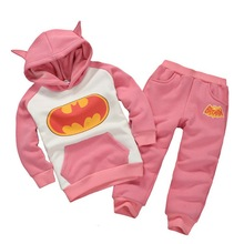 2015 New Arrival Batman girls boys clothing sets spring autumn HOT kids cotton sports clothing suits