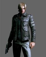 2014 Hot Sale Resident Evil 6 Game Leon Kennedy Jacket Gentlemen Cavalier PU Leather Jacket Motorcycle Fashion Outerwear Coat