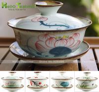 [HT!] 120ml handpainted ceramic teapot kung fu gaiwan porcelain teapot jing de zhen hand painted lotus flower gongfu teapots