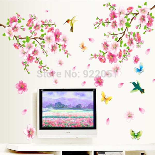 AY9158 Free Shipping Chinese Style Classic Design Home Decoration Wallpaper Beautiful Wintersweet Flower Wall Sticker(China (Mainland))