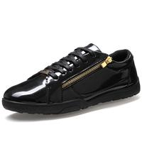 Brand Men Casual PU Leather Shoes Eu 39-44 Sides Zipper Decor Lace-up Decor Black & White Man Fashion Sneakers