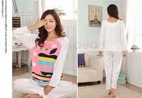 Winter Long Sleeve Pajamas Warm Women Cartoon Nightgown Sleepwear Cotton Nightwear Home Womens Clothing Tracksuit SV22