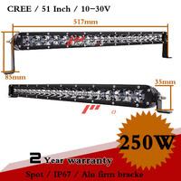 52 Inch 250W CREE LED Work Light Bar 12V IP67 Spot For SUV ATV Truck Fog Light Auto Off Road External Light Seckill 100W