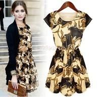 New Desgin summer dress Vintage O-neck Sleeveless Loose Casual dress Girls Retro Print women Dresses B22