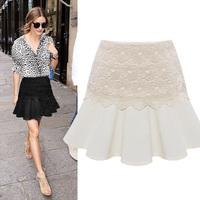 New All Match 2015 Summer Fashion Casual Women Chiffon Lace Pleated Mini Skirts, White, Black, M, L, XL
