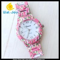 53/lot 2014 new fashion flower steel geneva watch women dress watches (WJ-2776)