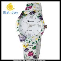 100/lot 2014 new fashion stainless steel flower printing alloy Geneva watch women (WJ-2776)