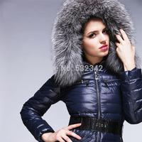 big size thick warm fox fur collar high-end luxury brand down coats&jackets 2014 winter slim winter warm outwear for women