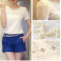 Camisas Femininas 2015 Summer Women Blouse Sheer Hollow Beading Elegant Ladies Chiffon Shirt Blusas Free Shipping