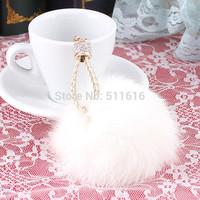 Luxury High Quality 100% Fox Head Hair Ball Keychain Keyrings For Women Handbags Fashion Bag Key Chain Rings Free Shipping