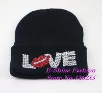 High quality beauty beanie hat  new fashion women beanies latest design rhinestone brand winter hats for women autumn gorros cap