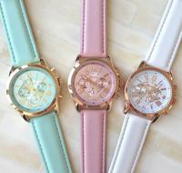 12 Colors New Fashion Leather Strap Watch Geneva Watches Women Dress Watches Quartz Wristwatch Watches