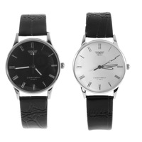 Fashion Men's PU Leather Stainless Steel Quartz Roman Numeral Wrist Watch  YKS