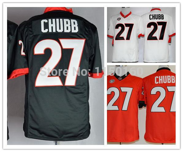 2014 Newest College Jersey 27 Nick Chubb Jerseys Red Cheap Georgia Bulldogs Jersey Limited,Size 48--56,Best Quality(China (Mainland))