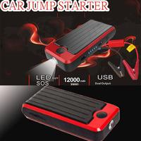 12000mAh jump starter car battery/ Portable jump starter /  Double USB ports Portable Mini Jump Starter Power Bank Free Shipping