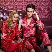 Hot Sale sexy pijama feminino long sleeve satin nightgown Round Neck Robe Sleep Top Women's home clothing Couples Suit Pajamas