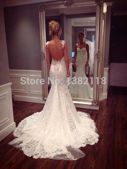 Манса горячие винтаж русалка свадебное платье 2014 халат mariage vestido novia кружево спагетти спинки vestido де noiva курто