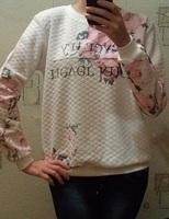 2014 Winter Women O-Neck Long Sleeve Flower Printed Sport Suit Casual Cute Sweatshirt Fashion Pullovers Hoodies Tops Feminine