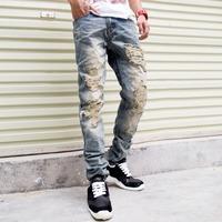 2014 New Famous Brand Vintage Men designer Casual Hole Ripped Jeans Mens Fashion Skinny Denim Pants Silm Fit Male Trou