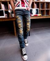 2015 Spring New Stylish Slim Fit Cotton Jeans Men Distressed Jeans Pants  , Big size 36 destroyed jean Denim Trousers