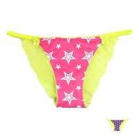 VS PINK Star Womens See Through Panties Bright Color Sexy Transparent Lace Thongs Girls Briefs