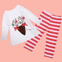 Hot Selling Baby Girl's T-shirt and Pants Long Sleeve Christmas Gift 2 pieces Fall Suit Kid's Set Christmas vestidos b9 SV010621
