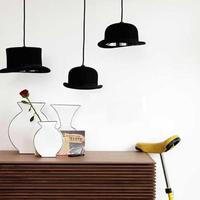 Modern Design Style E27 Top Hat Lamp Holder Pendant Lights Aluminum Black Hat Light for Home Bar Coffee Shop Inside Decoration
