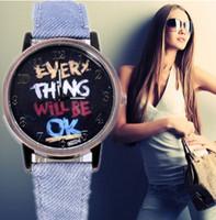 2015 New Fashion Denim Strap Personalized watches Men & Women unique Letter Design Dial Casual quartz watch relogio masculino