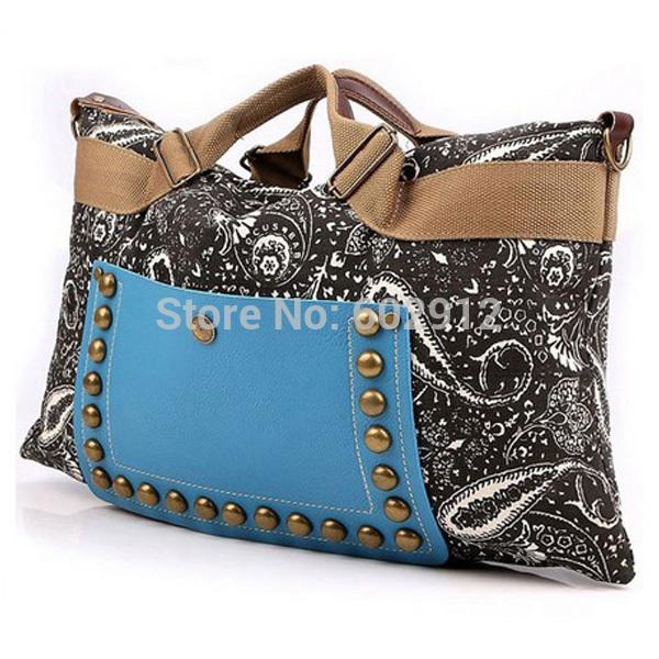 2014 National Trendy Girl Vintage Faux Leather Tote Shoulder Messenger Tribe Tribal Women Handbag Hobo Satchel Canvas Rivet Bag(China (Mainland))