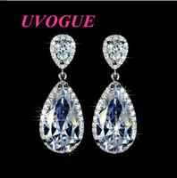 New hot sale white gold plated elegant teardrop Shape AAA Swiss Cubic Zircon fashion heart Earrings (UVOGUE UE0032)